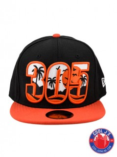 NEW ERA 5950 305 DADE COUNTY BLACK & ORANGE FITTED at Cool J's in Miami