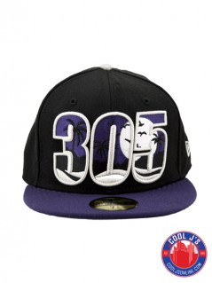 NEW ERA 5950 305 DADE COUNTY BLACK & PURPLE FITTED at Cool J's in Miami